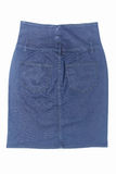 Dark blue jean mini skirt isolated on white background Royalty Free Stock Photography