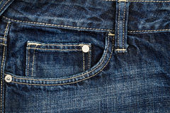 Dark blue jeans fabric with pocket Stock Images