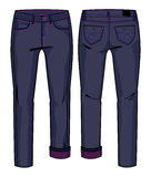 Dark blue jeans. Front and back views of pants for further product development vector illustration