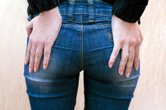 Dark blue jeans on hips Royalty Free Stock Images