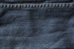 Dark blue jeans texture. With thread line Stock Photography