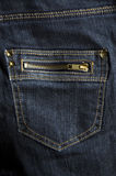 Dark blue jeans zip pocket Royalty Free Stock Photography