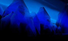 Dark blue Keabbo Crystal. Blue crystal mountains at twilight on an unknown planet Stock Image
