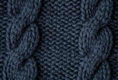 Dark blue knitted background. Macro shot Royalty Free Stock Photos