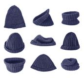 Dark blue knitted head cap isolated Stock Images