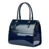 Dark blue leather handbag isolated on white. Stock Photography