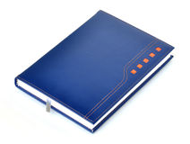 Dark blue leather notebook Royalty Free Stock Images