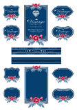 Dark blue luxury invitation flower labels and blank labels. Stock Photos