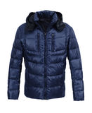 Dark Blue male winter jacket. Isolated on white background Stock Photos
