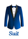 Dark blue man suit isolated on white background Vector.  Royalty Free Stock Photo