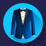 Dark blue man suit Vector icon. Dark blue man suit Vector flat icon Stock Photos