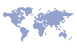Dark blue map of world - squares - vector Stock Photos