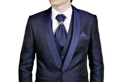 Dark blue men suit, wedding or evening, waistcoat, shirt, plastr Royalty Free Stock Photo