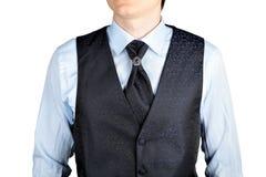 Dark blue men waistcoat with jacquard pattern Stock Image