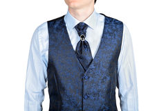 Dark blue men wedding vest jacquard fabric Royalty Free Stock Photos