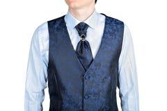 Dark blue men wedding vest jacquard fabric Royalty Free Stock Photos