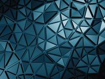 Dark Blue Metallic Silver Triangle Poligon Pattern Background Stock Photo