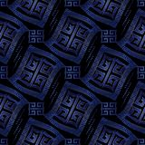 Dark blue modern geometric seamless pattern  background wallpape. R with vintage geometric wave greek key rhombus, squares, frames, shapes, figures, dots  and Stock Photos