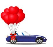 Dark blue modern opened cartoon cabriolet car with balloons. Dark blue modern opened cartoon cabriolet car with bunch of red helium heart shaped balloons with Stock Photos
