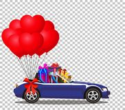 Blue opened cabriolet car full of gifts with balloons. Dark blue modern opened cartoon cabriolet car full of gifts and bunch of red helium heart shaped balloons Stock Photo