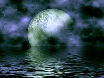 Dark Blue Moon & Water. Beautiful Dark Blue Fantasy Background With Moon & Stars Overlooking The Water Royalty Free Stock Photos