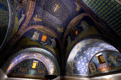 Dark blue Mosaic of the galla placidia mausoleum in Ravenn. Dark blue Ceiling Mosaic of the galla placidia mausoleum. Built between 425 and 433, this small Royalty Free Stock Images
