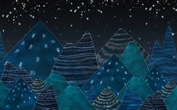 Dark blue mountains in the night. Used color tool and picture create to mountains Royalty Free Stock Photo