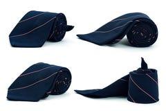 Dark blue necktie on white background Royalty Free Stock Images