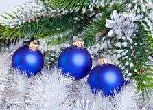 Dark blue New Year's ball Stock Photos