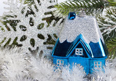 Dark blue New Year's toy small house Royalty Free Stock Photo