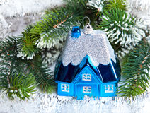Dark blue New Year's toy small house Stock Photo