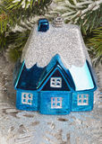 Dark blue New Year toy small house Stock Images