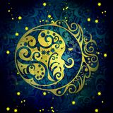 Dark blue night moon,abstract shabby colored background Royalty Free Stock Image