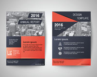 Dark blue and orange annual report 2016 abstract flyer layout te. Mplate, brochure background, leaflet with cover, vector design in a4 size for business royalty free illustration