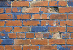 Dark Blue and orange brick background stock photo