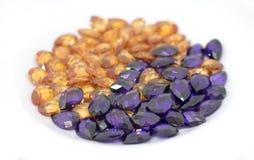 Dark blue and orange Gemstone Jewelry ruby beads royalty free stock photography