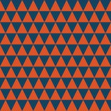 Dark blue and orange triangles seamless vector pattern. Simple abstract geometric background texture stock illustration