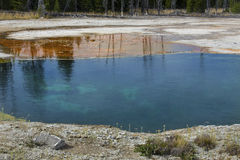 Dark blue and orange water, hot springs of Yellowstone, Wyoming. Royalty Free Stock Photography