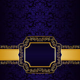 Dark blue ornamental Background. Stock Photo