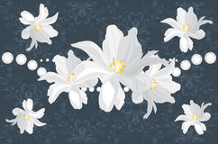 Dark blue ornamental background with white flowers Stock Images