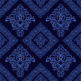 Dark blue ornamental seamless  damask Pattern. Royalty Free Stock Photos