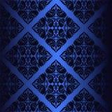 Dark blue ornamental seamless Wallpaper. Stock Photo