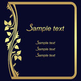 Dark blue ornate Background with golden floral Frame. Stock Photo