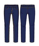 Dark blue pants. Front and back views of pants for further product development vector illustration