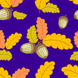 Dark blue pattern with leaves and acorns-01 Stock Photos