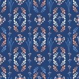 Dark Blue And Peach Wildflower Geo Vector. Blue Peach Wildflower Seamless Vector Pattern, Hand Drawn Floral Leaf Illustration for Summer Fashion Print, Trendy royalty free illustration