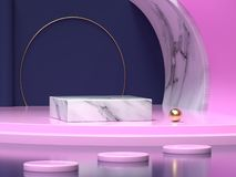 Dark blue pink wall floor corner abstract  geometric shape background 3d render. Ing stock illustration