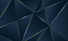 Dark blue Premium background with luxury polygonal pattern and gold triangle lines. Low poly gradient shapes luxury gold lines vector. Rich background, premium stock illustration