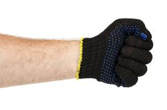 Dark blue protective cloth gloves with hand, handyman equipment. Isolated on white background stock image