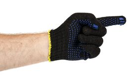 Dark blue protective cloth gloves with hand, handyman equipment. Isolated on white background stock photo